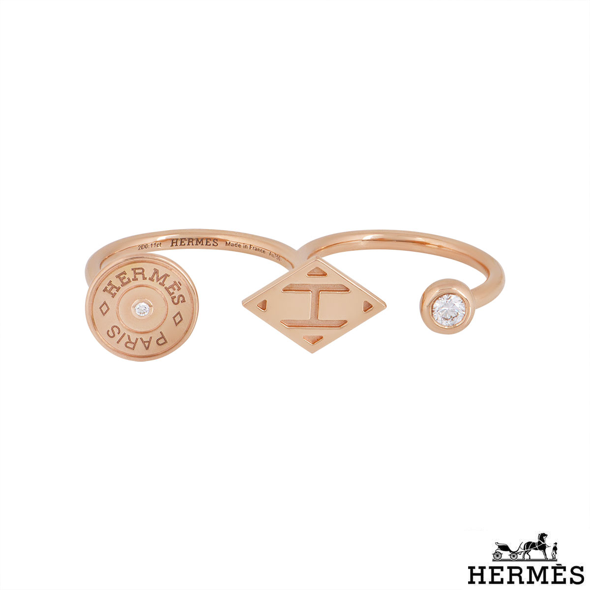 Hermès Rose Gold Gambade Double Ring